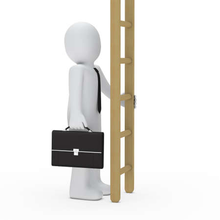 3d business briefcase man hold a ladder photo