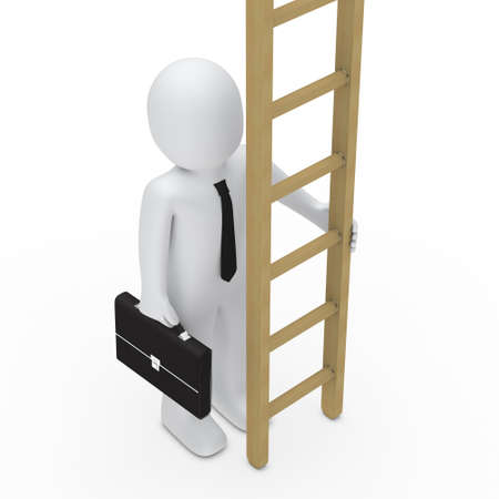 woman stairs: 3d business man with birefcase hold ladder