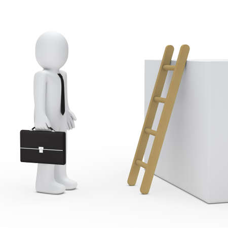 3d business man with briefcase before ladder photo