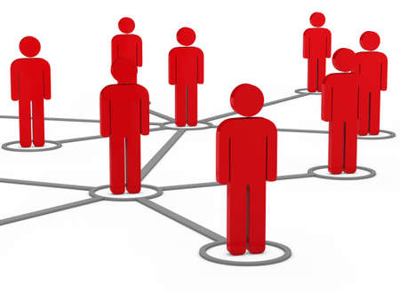 organized group: 3d social network team red men group Stock Photo