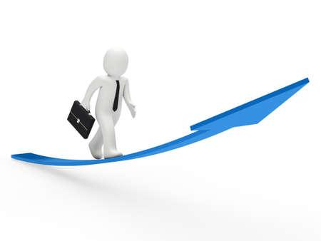 job promotion: 3d business man run on blue arrow