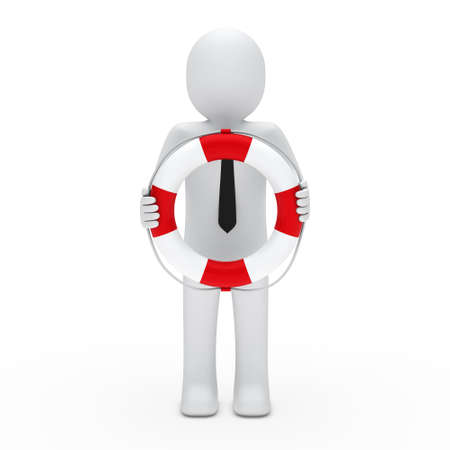 disaster recovery: 3d businessman with tie in lifebelt red