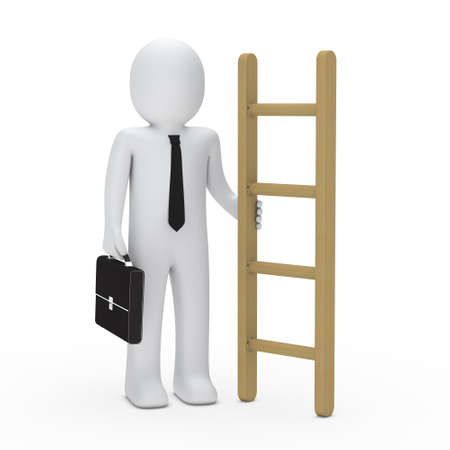 3d business man with briefcase hold ladder photo