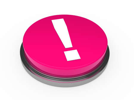3d pink button exclamation mark white photo