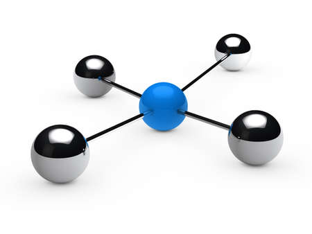 networked: Leadership concept with blue sphere and chrome