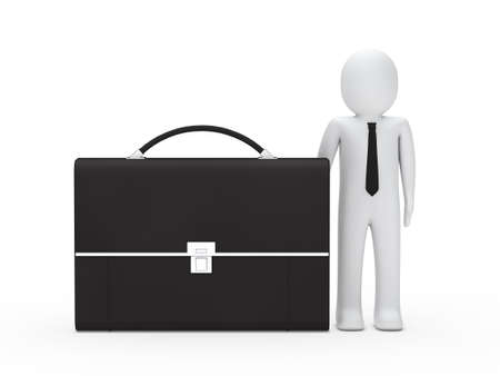 3d business man stand next big briefcase photo