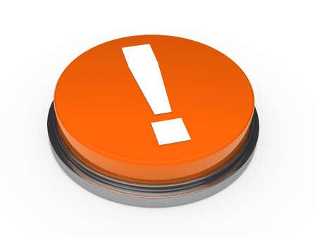 3d orange button exclamation mark white photo