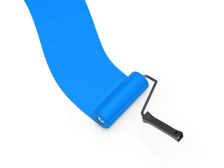 blue paintroller: 3d paint roller blue color ground white Stock Photo
