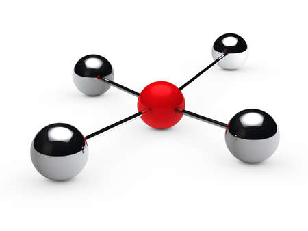 Leadership concept with red sphere and chrome  photo