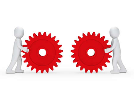 3d men push gear red to connecting photo