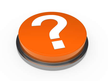 3d button orange with question mark sign photo