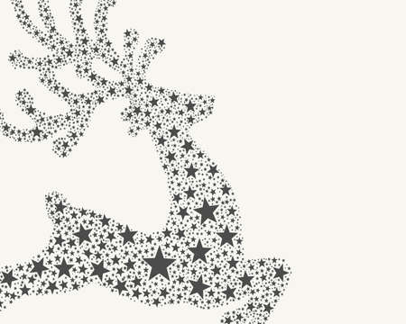 reindeer gray from stars flying on background