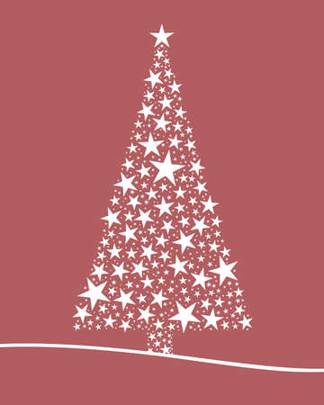 Christmas tree from white stars pink background photo
