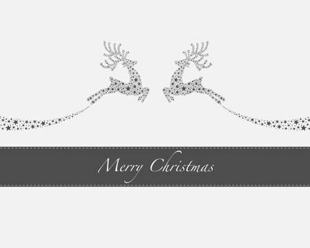 flying reindeers from gray stars merry christmas photo