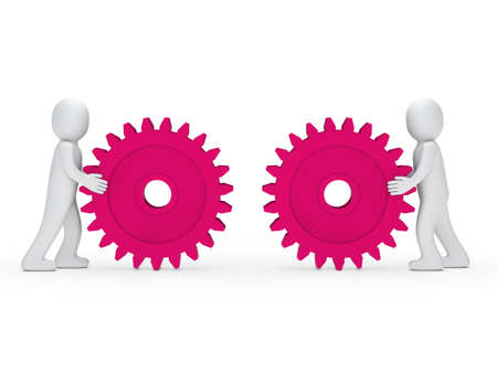 machine part: 3d men push gear pink to connecting