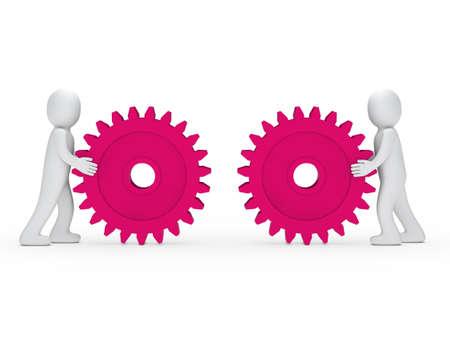 mechanism of progress: 3d men push gear pink to connecting