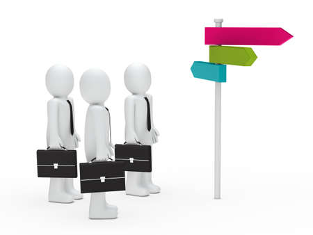 3d business man team choice colorful way photo