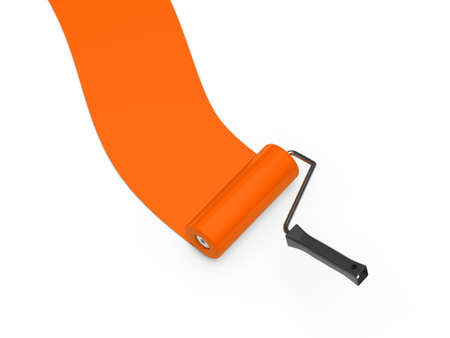 3d paint roller orange color ground white photo