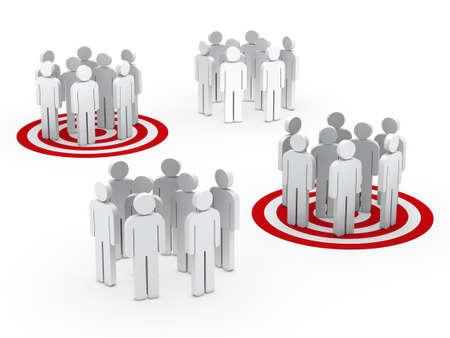 3d human: 3d teamwork people group circle red tarbet