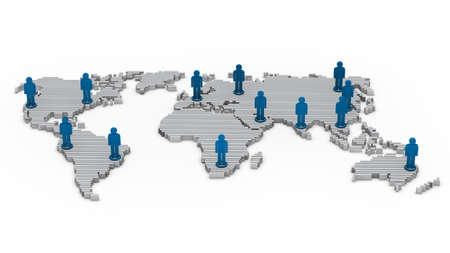 wold: 3d wold map network blue business people Stock Photo