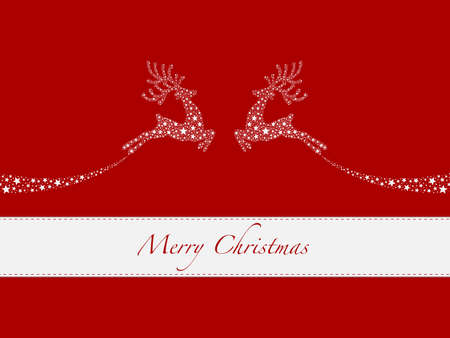 reindeer white from stars flying red background photo