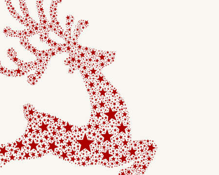 reindeer red from stars flying on background