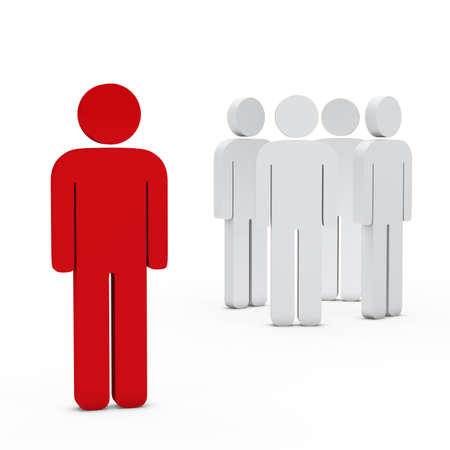 employee development: 3d business team white success leader red