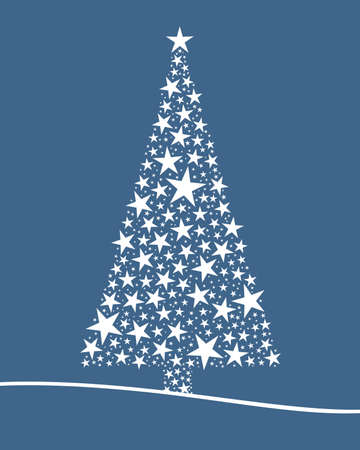 Christmas tree from white stars blue background photo