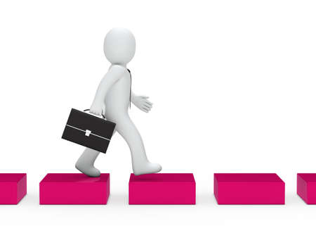 3d business man going pink cube way photo