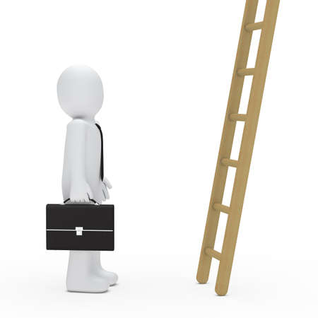 woman stairs: 3d business man briefcase look up ladder