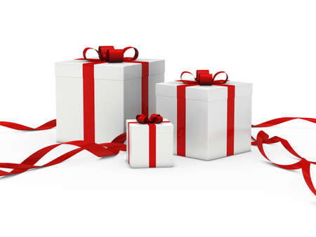 wrapped present: christmas gift box white white red ribbon