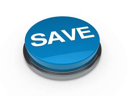 3d button blue chrome save white text Stock Photo - 11209500