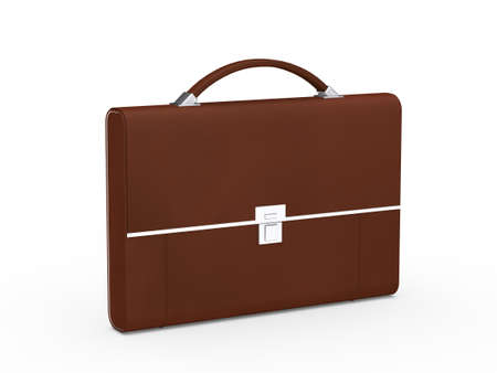 3d business bag briefcase brown and chrome photo