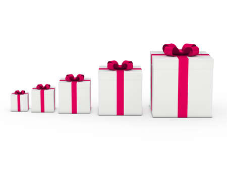 wrapped gift: 3d gift box white with pink ribbon