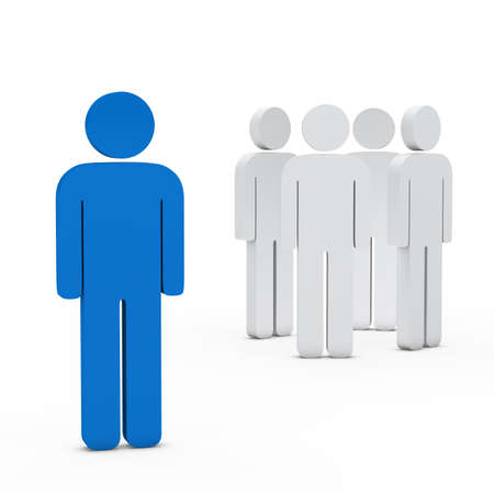 distinguish: 3d business team white success leader blue