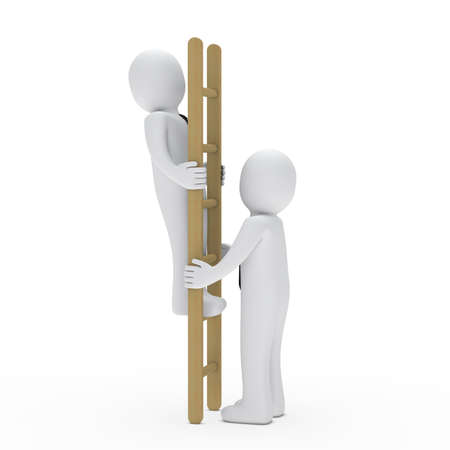 to climb: 3d business man up ladder for success Stock Photo