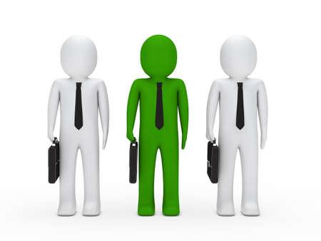 office stuff: 3d business man briefcase tie stand team