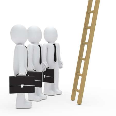 3d businessman birefcase watch up a ladder Stock Photo - 11312737