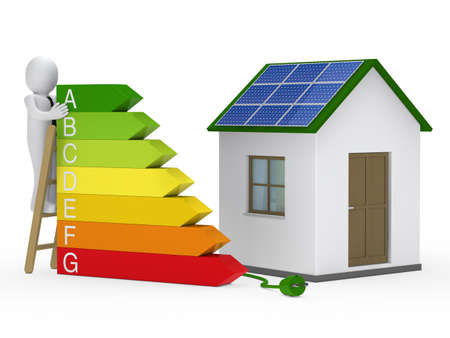 energy bar: 3d man on ladder solar house plug Stock Photo