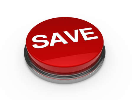3d button red chrome save white text photo