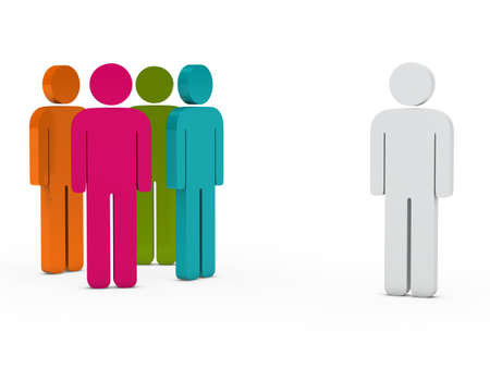 distinguish: 3d business team people colorful with leader