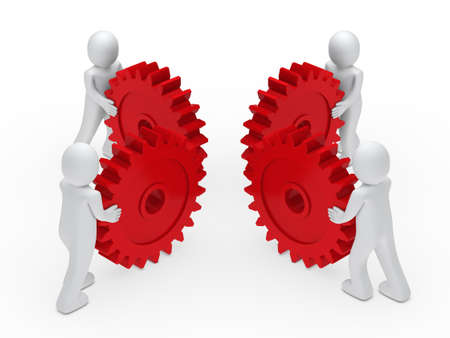 3d man teamwork circle with red gear Stock Photo - 11312768
