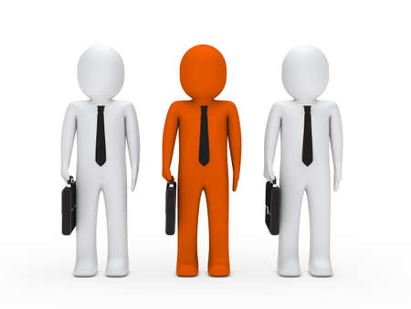 unrecognizable person: 3d business man briefcase tie stand team