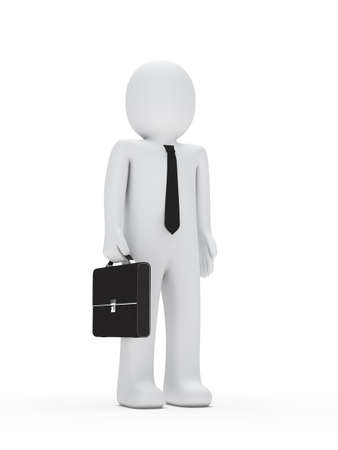 suit case: 3d business man with tie and briefcase