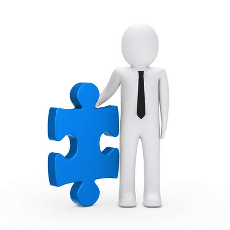 3d business man hold a puzzle blue photo