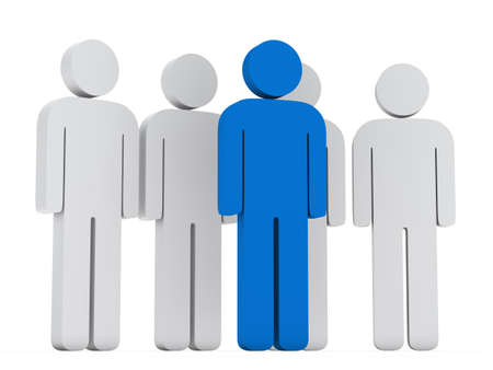 distinguish: 3d teamwork group with blue leader front