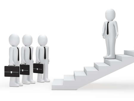 3d leader show businessmen way on stairs photo