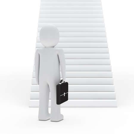 3d business man with briefcase for stairs photo