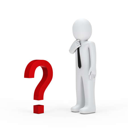 3d businessman for small red question mark photo