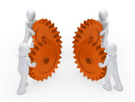3d man teamwork circle with orange gear Stock Photo - 11312831